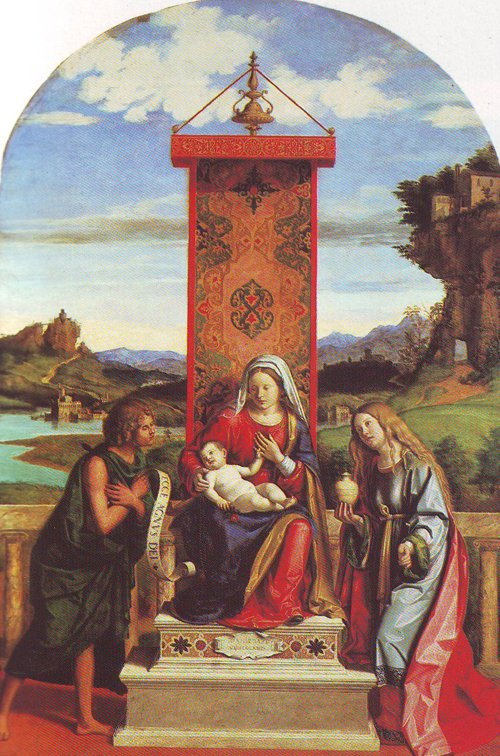 The Virgin And Child Between St John The Baptist And St Mary Magdalen | Giovanni Battista Cima | oil painting