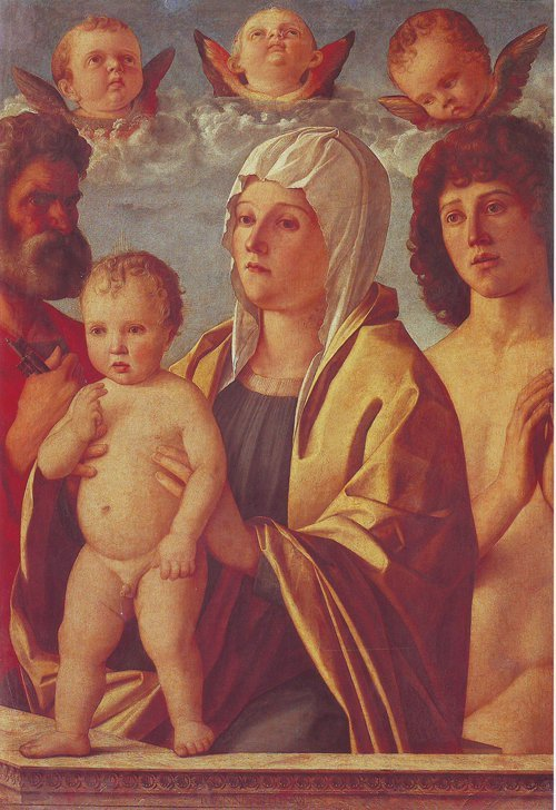 The Virgin And Child Between St Peter And St Sebastian | Giovanni Bellini | oil painting