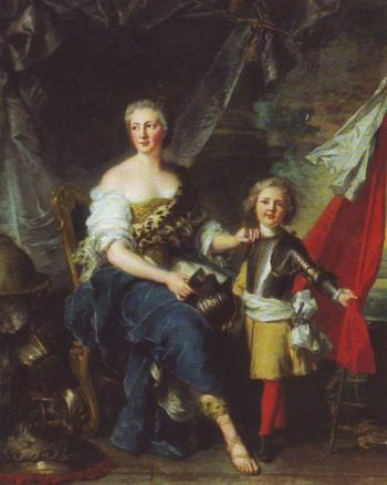 Mademoiselle De Lambesc As Minerca-Arming Her Brother-The Comte De Brionne And Directing Him To The Arts Of War | Jean-Marc Nattier | oil painting