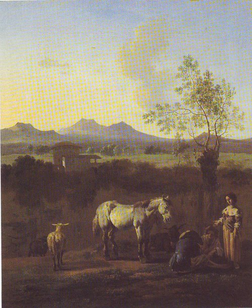 The Pasture Horses Cows And Sheep In A Meadow With Trees | Karel Dujardin | oil painting