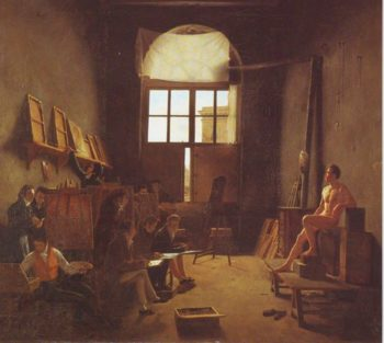 Interior Of The Studio Of David | Leon-Matthieu Cochereau | oil painting