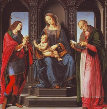 The Virgin And Child With St Julian And St Nicholas Of Myra | Lorenzo Di Credi | oil painting