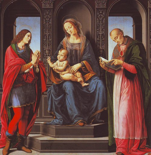 The Virgin And Child With St Julian And St Nicholas Of Myra   Lorenzo Di Credi   oil painting
