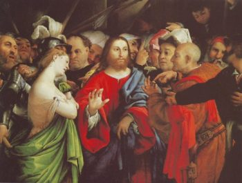 Christ And The Woman Taken In Adultery | Lorenzo Lotto | oil painting
