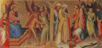 The Meeting Between St James Major And Hermogenes   Lorenzo Monaco   oil painting