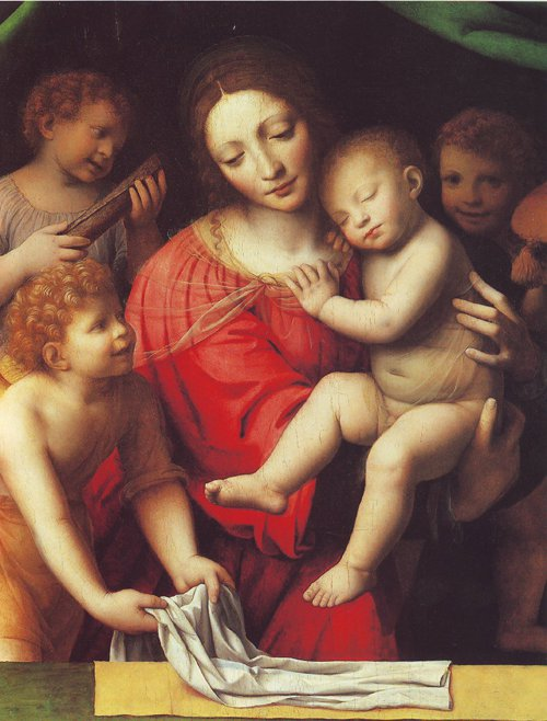 The Virgin Carrying The Sleeping Child With Three Angels | Luini | oil painting