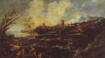 Landscape With A Man Moving A Barrel Beside The Shore   Magnasco   oil painting