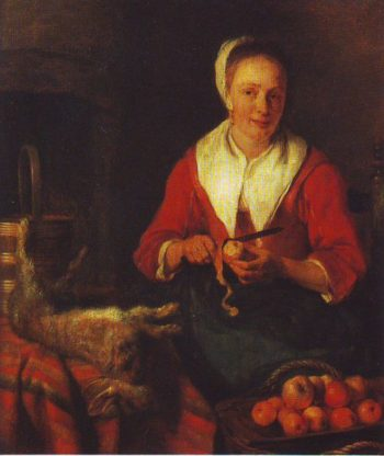 The Busy Cook   Metsu   oil painting
