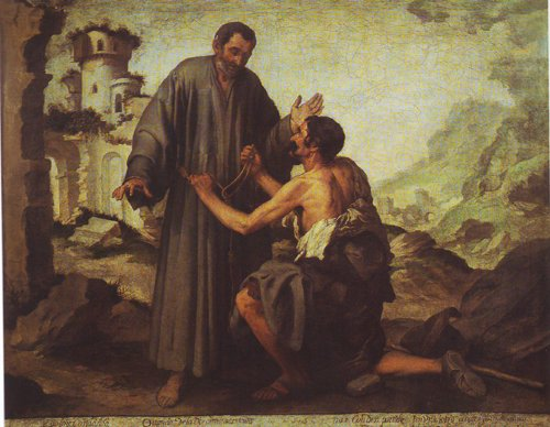 Brother Juniper And The Beggar | Murillo | oil painting