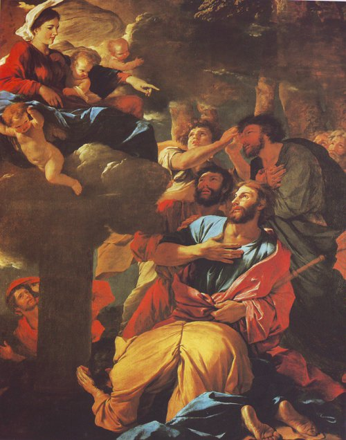 The Virgin Of The Pillar Appearing To St James The Major   Nicolas Poussin   oil painting