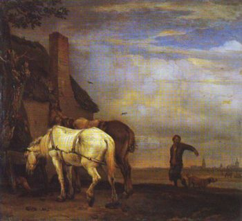 Two Drafthorses In Front Of A Cottage | Paulus Potter | oil painting