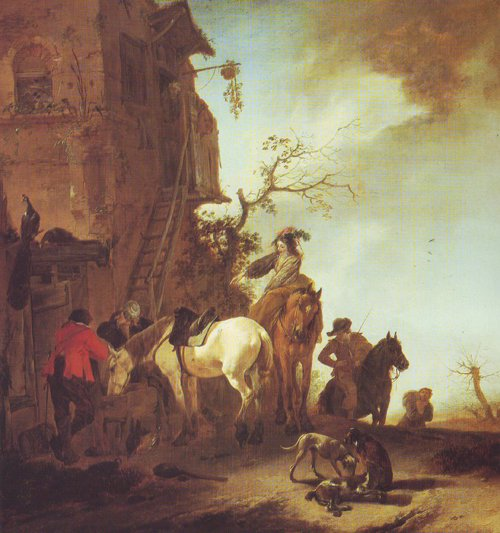 Hunters And Horsemen By The Roadside | Philips Wouwerman | oil painting
