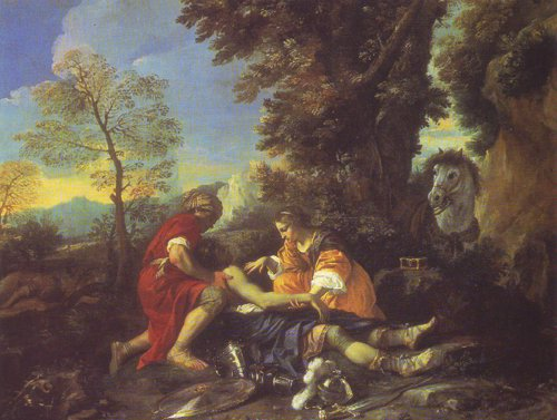 Herminia And Vafrino Tending The Wounded Tancred   Pier Francesco Mola   oil painting