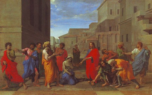 Christ And The Woman Taken In Adultery | Poussin | oil painting