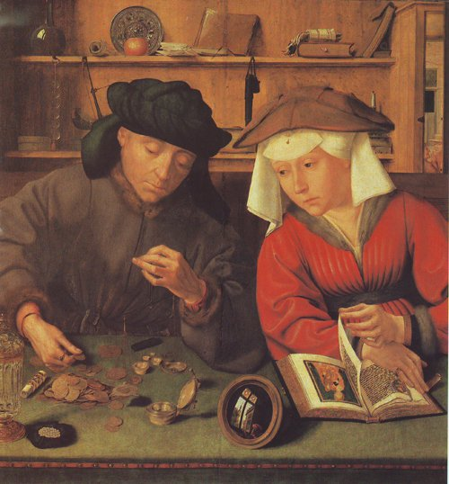 The Moneylender And His Wife   Quentin Metsys   oil painting