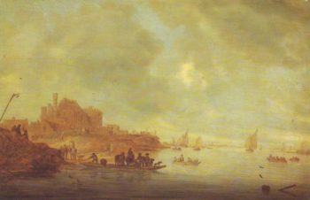 The Ferry   Salomon Van Ruysdael   oil painting
