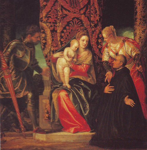 The Virgin And Child With Saints Justin And George And A Benedictine   Veronese   oil painting