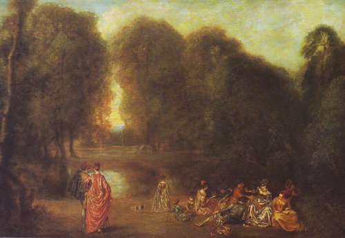 Assembly In A Park | Watteau | oil painting