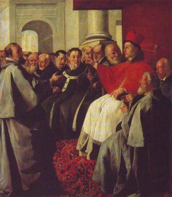 St Bonaventure At The Council Of Lyons   Zurbaran   oil painting