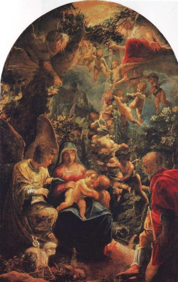 Holy Family With Angels | Adam Elsheimer | oil painting