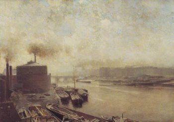 British Gas Works On The River Spree | Adolf Von Meckel | oil painting