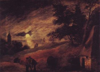 Dune Landscape By Moonlight | Adriaen Brouwer | oil painting