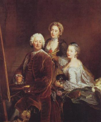 The Artist At Work With Shis Two Daughters   Antoine Pesne   oil painting