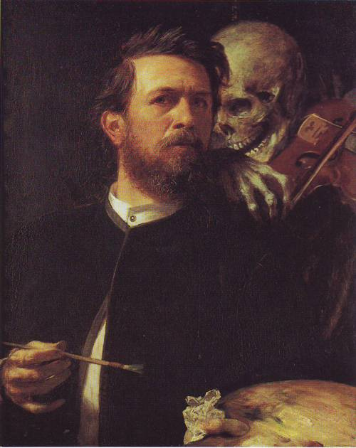 Self Portrait With Death As Fiddler | Arnold Bocklin | oil painting
