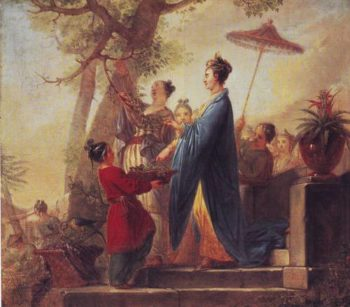 The Empress Of China Culling Mulberry Leaves | Bernhard Rode | oil painting
