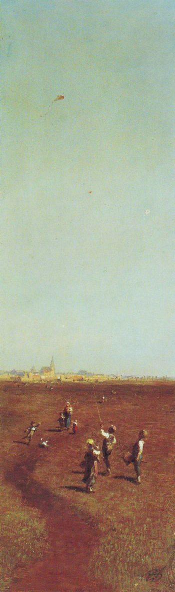 Kite Flying | Carl Apitzweg | oil painting
