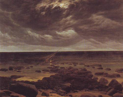 Seashore With Shipwreck By Moonlight | Caspar David Friedrich | oil painting