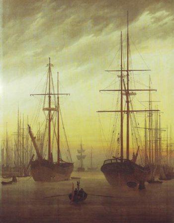 View Of A Harbor | Caspar David Friedrich | oil painting