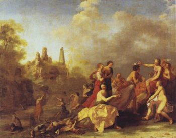 Amaryllis Giving Myrtill The Prize | Cornelis Van Poelenburgh | oil painting