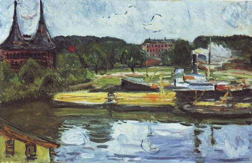 Lubeck Harbor With The Holstentor | Edvard Munch | oil painting