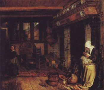 Dutch Interior With Woman Swwing | Esaias Boursse | oil painting