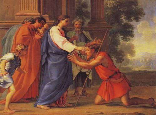 Christ Healing The Blind Man | Eustache Lesueur | oil painting