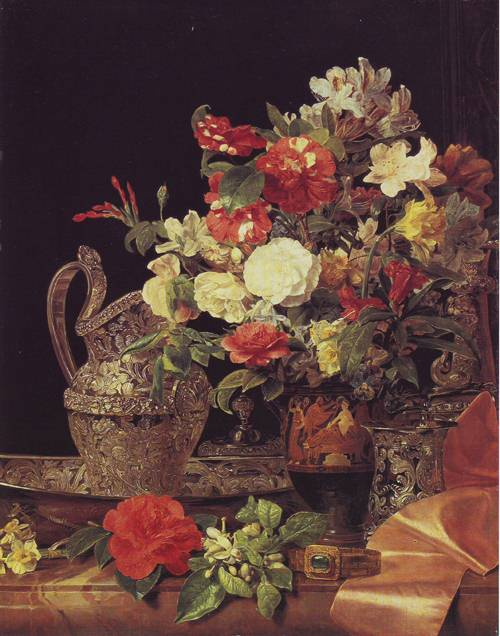 Bouquet In An Attic Bel Crater | Ferdinand Georg Waldmuler | oil painting