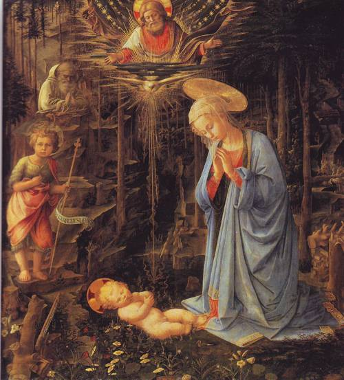 The Adoration With The Infant Baptist And St.Bernard | Fra Filippo Lippi | oil painting