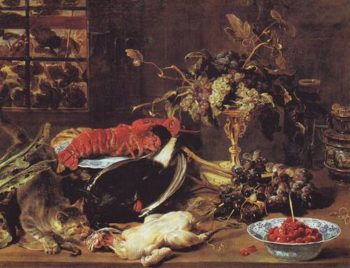 Hungry Cat With Poultry  Lobster  Game And Fruit | Frans Snyders | oil painting