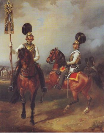 Two Cuirassiers From The Regiment Of Czar Nicholas I | Franz Kruger | oil painting
