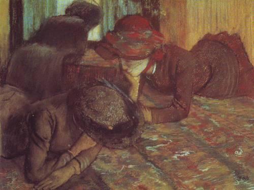 Conversation Chez La Modiste | Germaine-Hillaire-Edgar Degas | oil painting