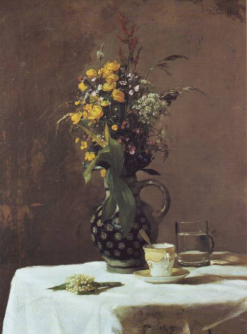 Wildflowers With Porcelain Cup | Hans Thoma | oil painting