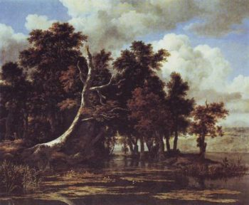 Oaks By A Lake With Waterlilies | Jacob Isaacsz Van Ruisdael | oil painting