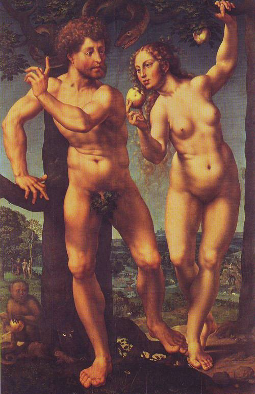 Adam And Eve In Paradise | Jan Gossaert | oil painting