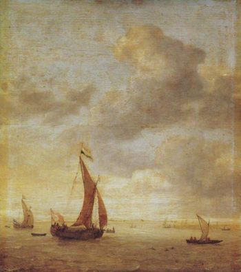 Single Masted Damlooper And Rowboat On A Breezy Day   Jan Porcellis   oil painting