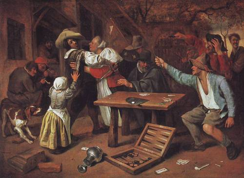 Argument Over A Card Game   Jan Steen   oil painting
