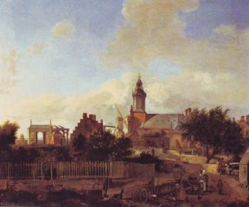 Street Before Harlem Tower | Jan Van Der Heyden | oil painting