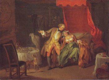 Mme De Boouvillon Tempts Fate By Asking Ragotin To Search For A Flea | Jean-Baptiste-Joseph Pater | oil painting