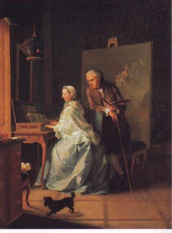 Portrait Of The Artist And His Wife At The Spinet | Johan Heinrich Tischbein The Blder | oil painting