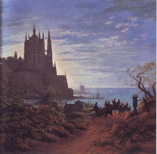 Medieval Town On A River   Karl Friedrich Schinkel   oil painting